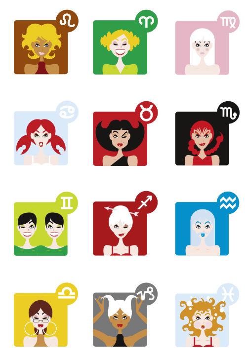 Ilustração de pessoas de reações diferentes de garotas