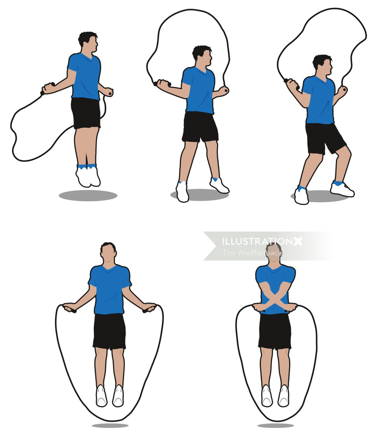 Skipping rope exercise - An illustration by Tim Weiffenbach