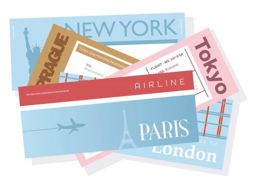 Vector illustration of airlines tickets