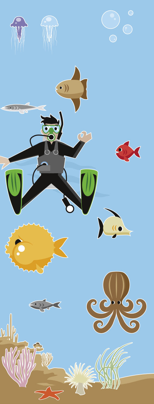 Nature illustration of scuba diving