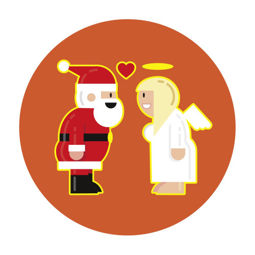 Cartoon illustration of Santa & angel