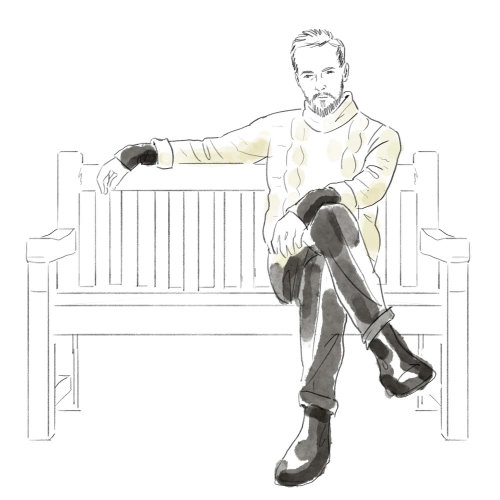 Black and white illustration of sitting on bench
