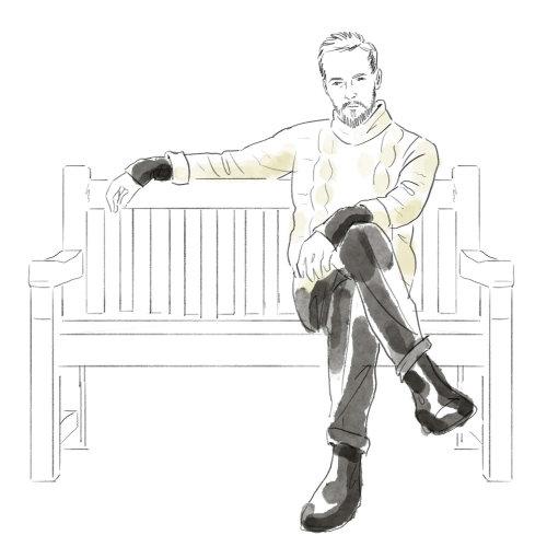 Ilustração em preto e branco de sentar no banco