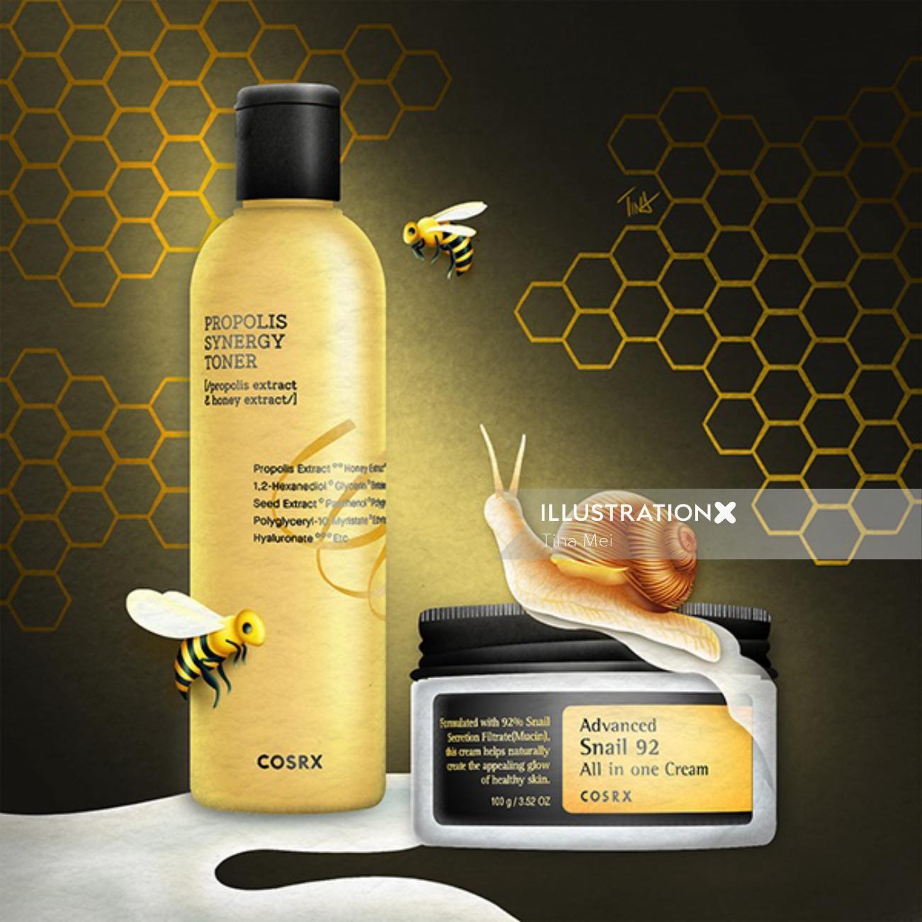 cosrx, bee venom skincare, propolis, snail skincare, korean beauty, korean skincare, skincare illust