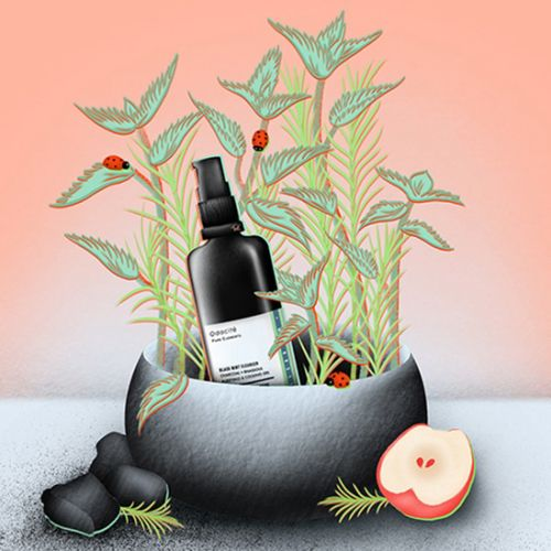 Black Mint Cleanser, odacite, cleanser, skincare illustration, product illustration, clean beauty, c