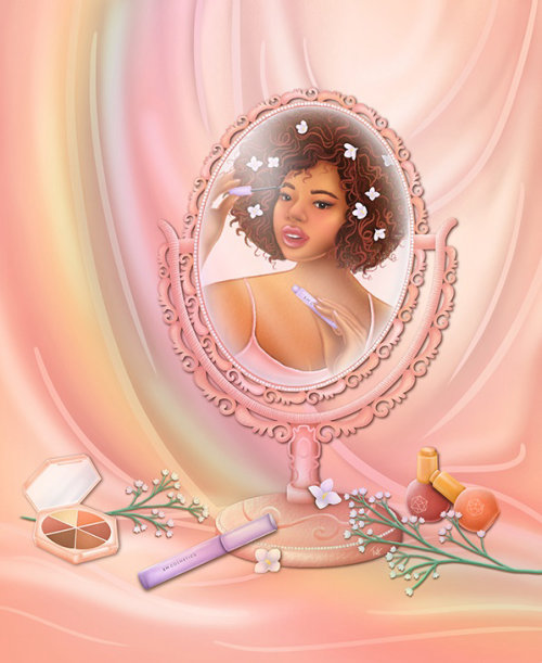 Em cosmetics, em cosmetics art, pick me up mascara, product illustration, dreamy illustration, roman