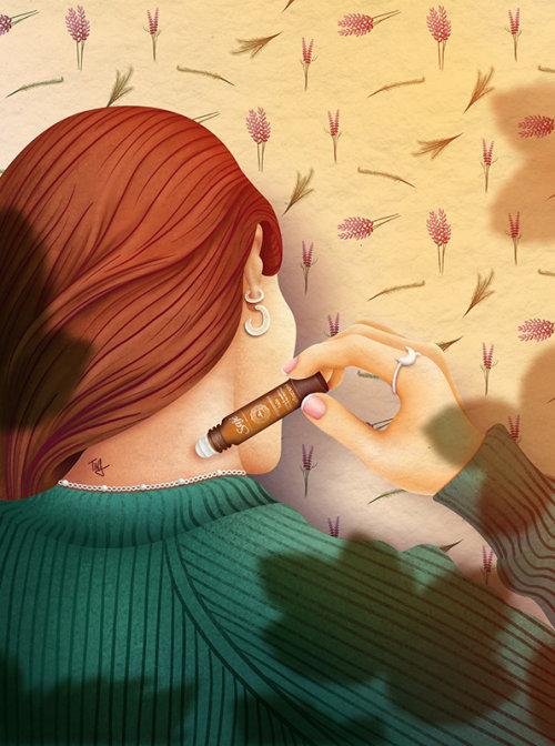 saje wellness, essential oil, beauty product illustration, woman using essential oil, beauty illustr