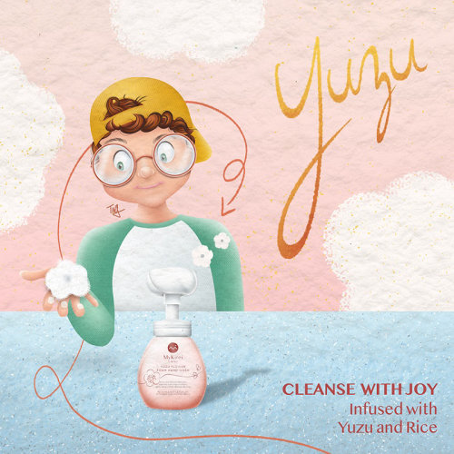 yuzu, hand wash, foam hand wash, mykirei, product release, product illustration, japanese beauty, be