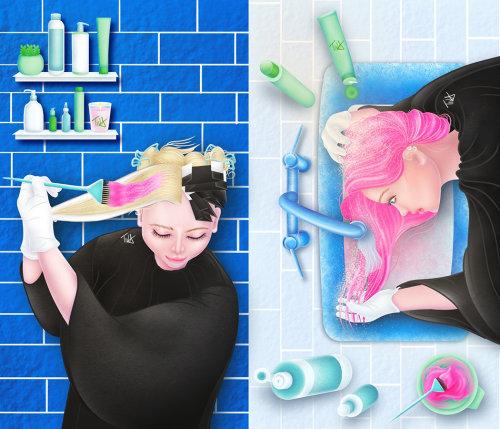 粉红色女性染发数字绘画