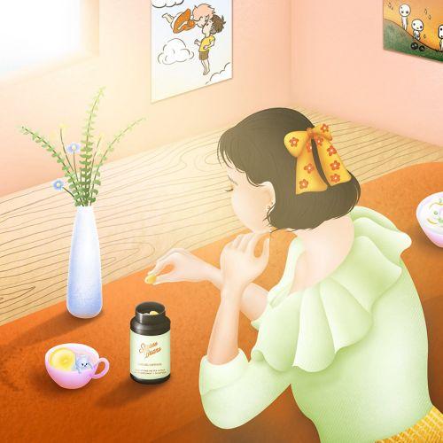 Stress Bears CBD gel capsules medical illustration