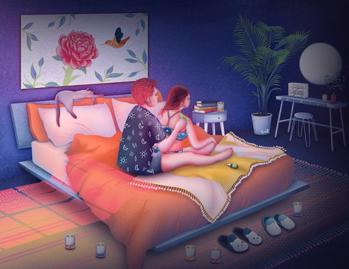 self care, selfcare illustration, bedroom interior, gua sha, gua sha therapy, skincare tools, skinca