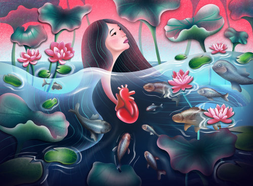 Auto-motivation, soins personnels, amour de soi, illustration inspirante, fille sous l'eau, illustration de lotus,