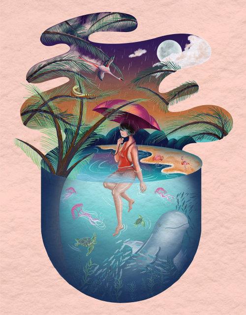 由 Tina Mei 绘制的幻想神奇的夏末插图
