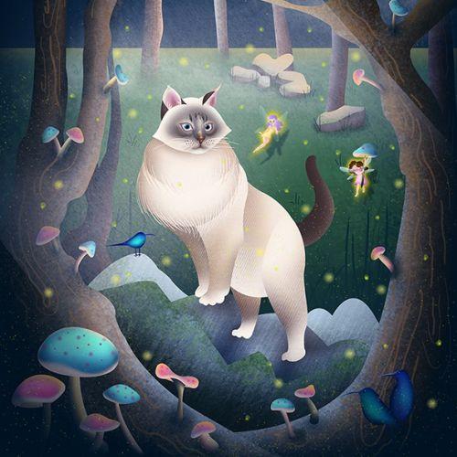 Animal Siberian Forest Cat illustration