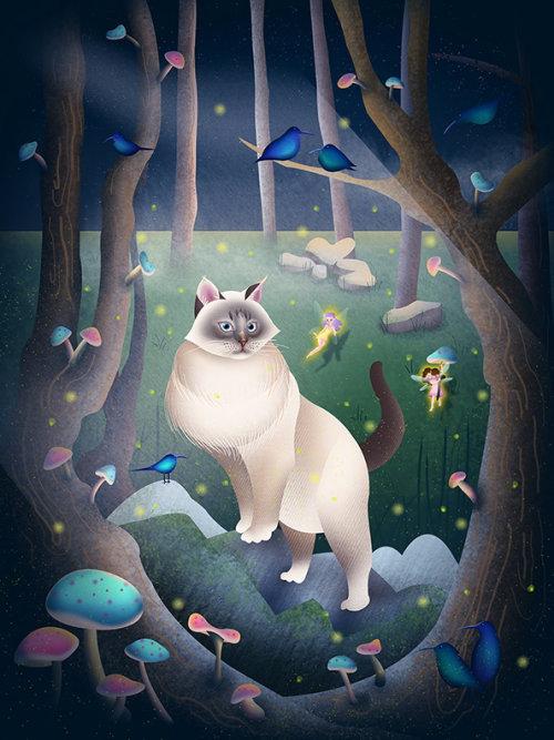 siberiest cat, forest cat, magical forest, fairies, mushrooms, blue birds, pet illustration, cat ill