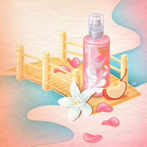 queen of hungary mist, product illustration, skincare illustration, beauty illustration, illustratio
