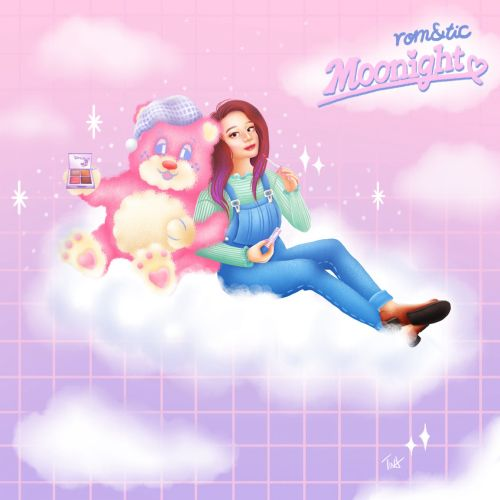 Romand x Neonmoon, Moonlight, cute bear, anime girl with a bear, girl putting on lipstick, beauty il