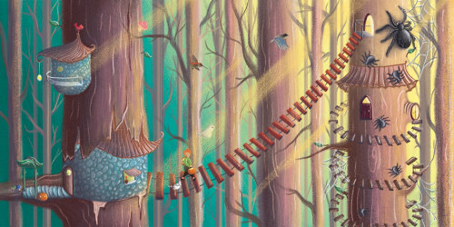Between the Trees, enchanted forest illustration, forest illustration, children magical, kid trickot