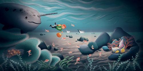 Under the Sea, underwater scene, underwater illustration, illustration sea, childrens illustration s