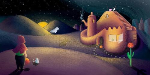 Home illustration, desert illustration, children desert illustration, sandhouse illustration, tina m