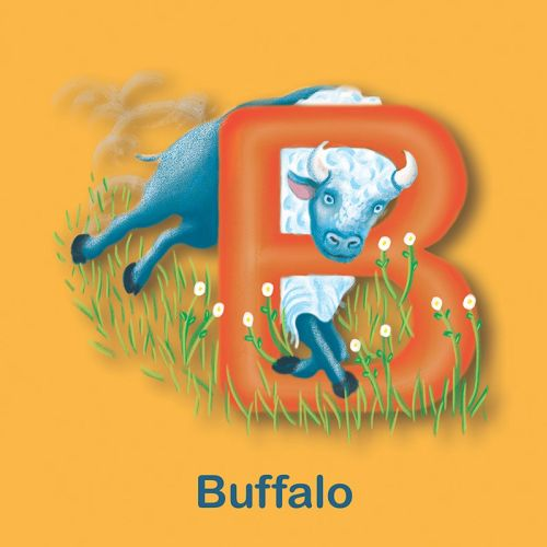 B for Buffalo, buffalo illustration, childrens buffalo, childrens book, abc book, tina mei illustrat