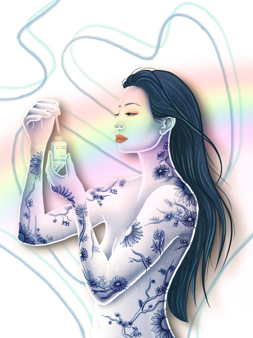 skincare, skincare illustration, blue porcelain, asian beauty, beauty illustration, illustration, ti