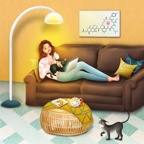 personalized portrait, portrait illustration, girl sitting on couch, girl sitting on couch illustrat