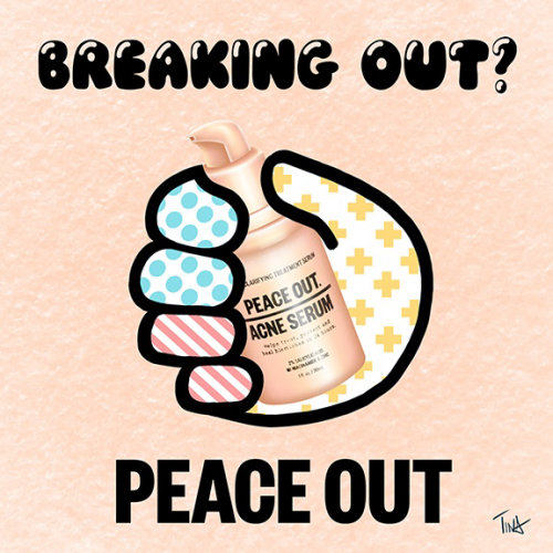 Breaking Out, Peace Out, illustration de soins de la peau, sérum d'acné, illustration de beauté, illustration, tina