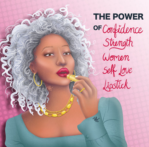 cosmetics, woman putting on red lipstick, beauty illustration, red lipstick, makeup, power of redlip