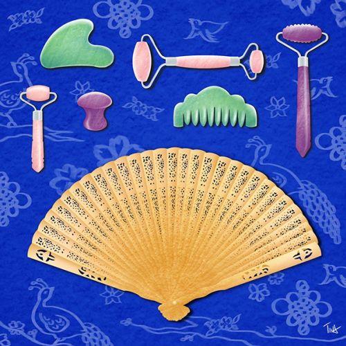 gua sha, gua sha therapy, skincare tools, skincare, chinese skincare, product illustration, product