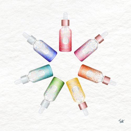 skincare, personalize skincare, skin inc, serums, rainbow, skincare illustration, beauty illustratio