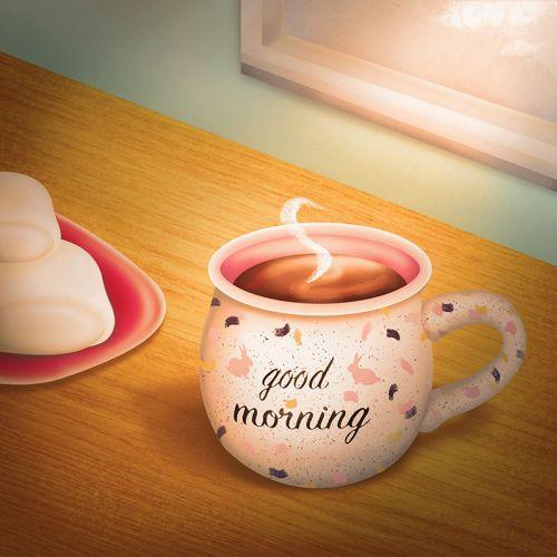 good morning, good morning illustration, coffee illustration, drink illustration, food illustration,