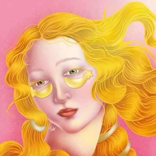 金色眼罩卷发女孩的 gif 动画