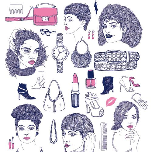 Fashion illustration of makeup kit