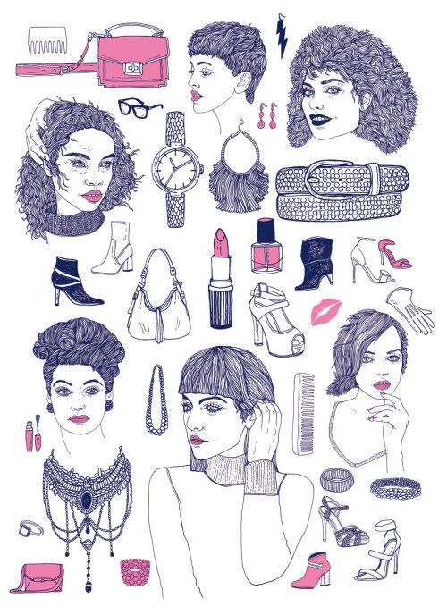 化妆套件的时装插画