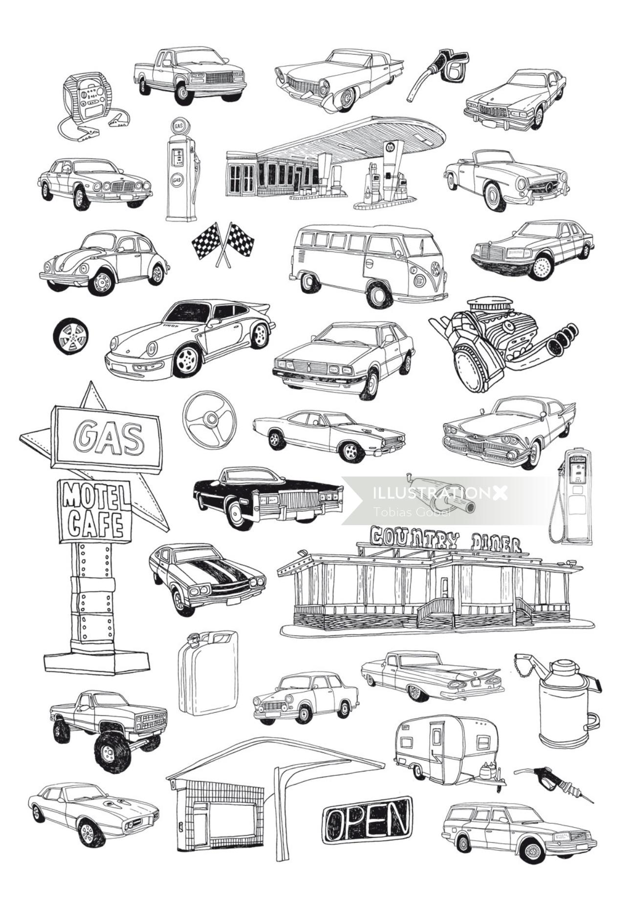 Graphic line art of cars