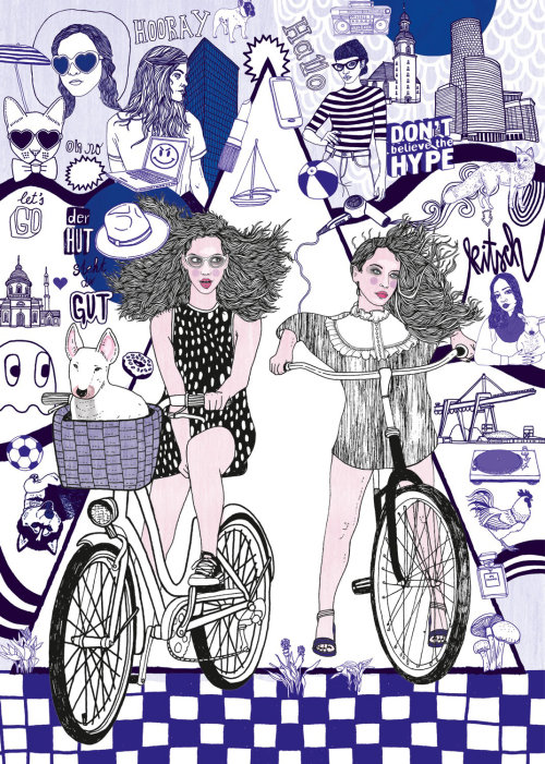 People woman on cycles