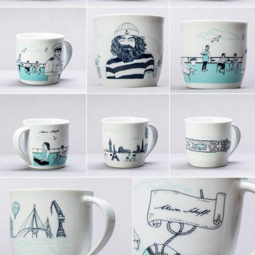 Graphic art on coffee mugs