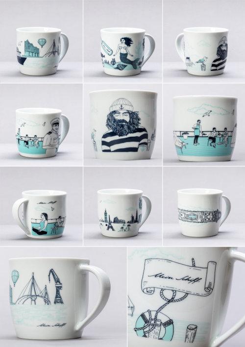 咖啡杯上的图形艺术
