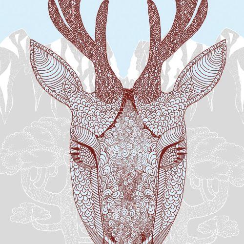 Line animal illustration of deer face