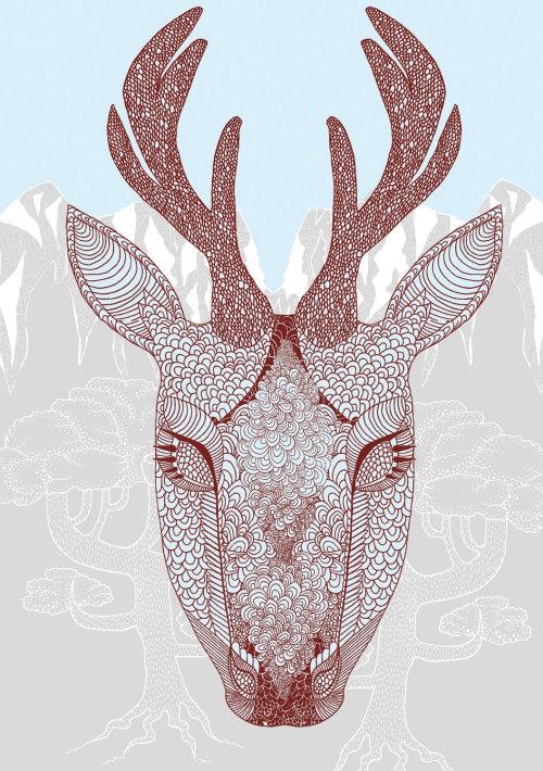 Illustration animale de ligne du visage de cerf
