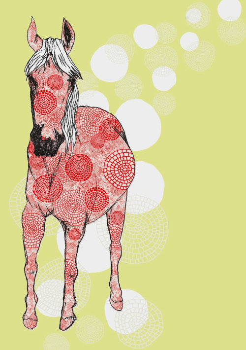 Motif animaux sur cheval