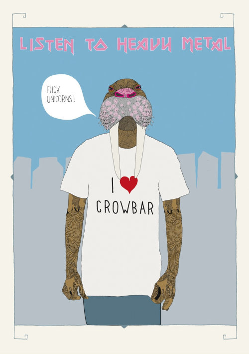 Graphic man with I love crowbar