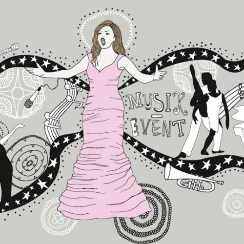 Graphic women dress and dancing
