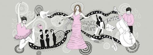 图形女性着装和跳舞