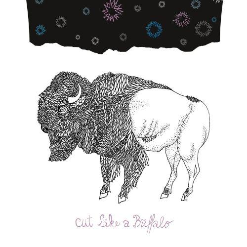 Line art cloth and bison
