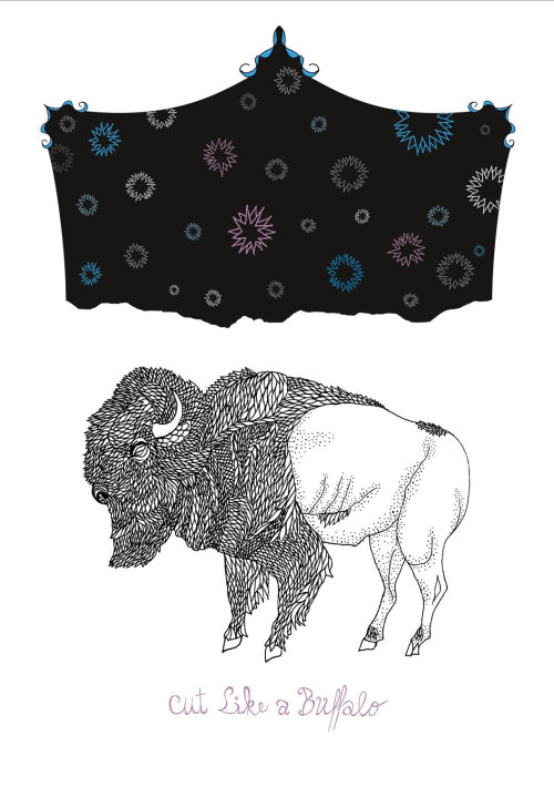 Line art cloth and bison