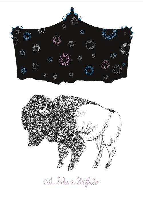 线条艺术布和野牛