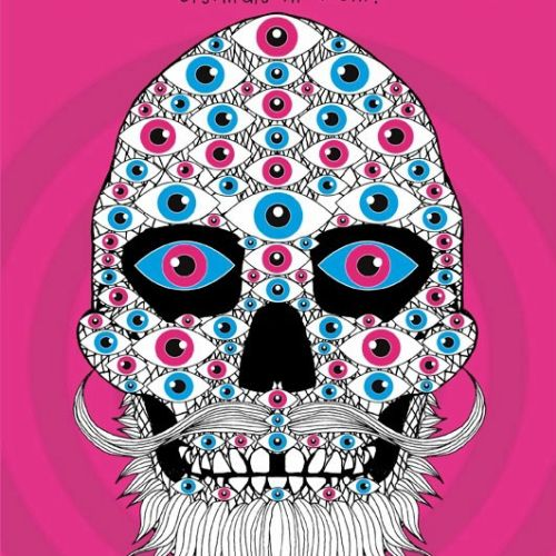 Fantasy pink skeleton face