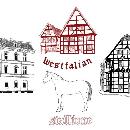 Architecture building and stallione horse